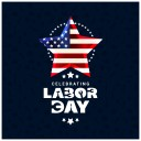 Labor Day USA Flag Star Graphic